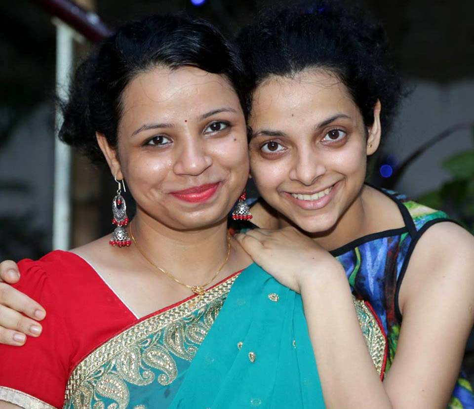 Padmini Rout with her elder sister Emilee a few days after the latter`s marriage in Bhubaneswar on May 27, 2015.