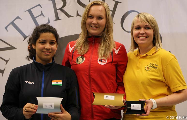 Odia girl Shriyanka Sadangi (Left) with her silver medal in Intershoot 2016 international shooting competition, held at the Hague, Netherlands on Feb 7, 2016.