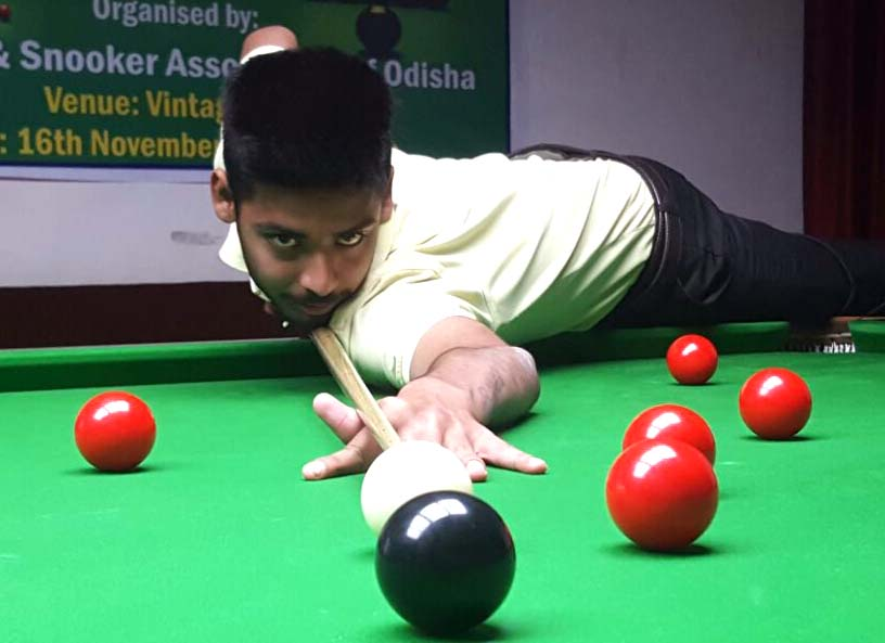 Odisha cueist Soubhagya Behera in action at the State Billiards & Snooker Championship in Bhubaneswar on Nov 22, 2016.