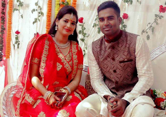 Odisha cricketer Biplab Samantray with his fiancee Prachi Sahu at their engagement ceremony in Bhubaneswar on March 10, 2017.
