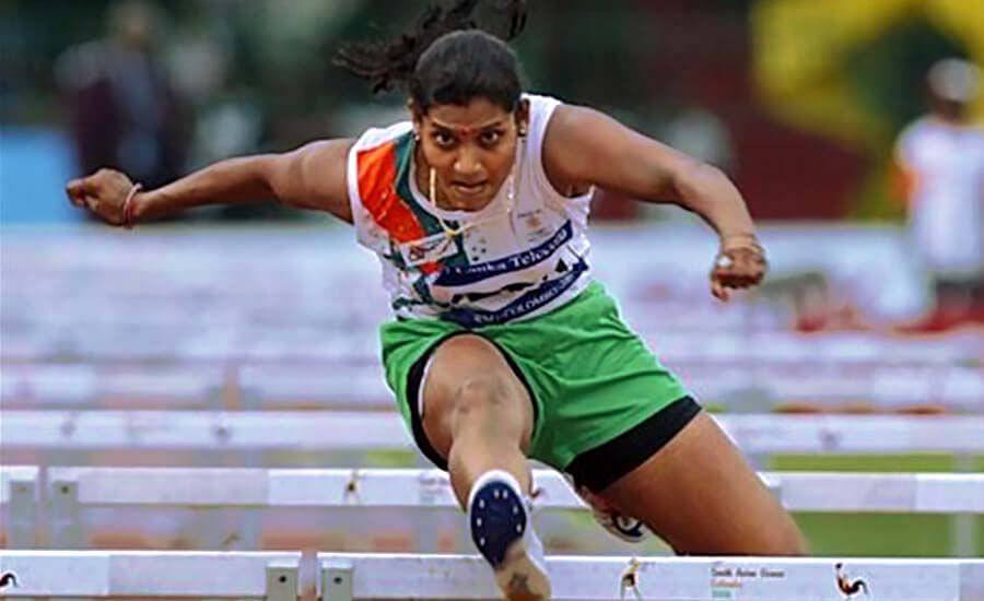 File photo of ace Odisha woman hurdler Anuradha Biswal in action.