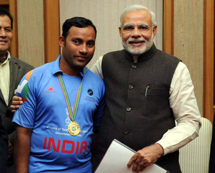 Undated photo of Odisha blind cricketer Md Jafar Iqbal with Prime Minister Narendra Modi.