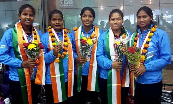 The five Odisha hockey players pose after helping India win the Women's Asia Cup in Japan on Nov 5, 2017.