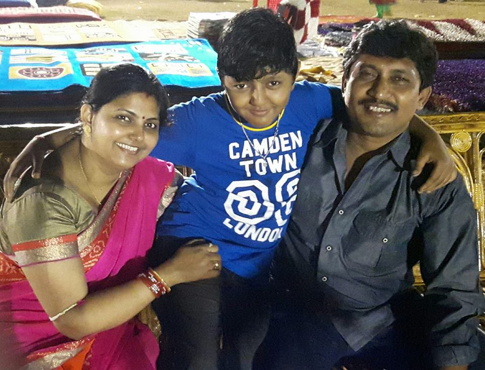 Odisha football international Rajendra Prasad Singh with his wife Madhusmita Singh and son Haardikraj Singh in Dhenkanal in 2015.