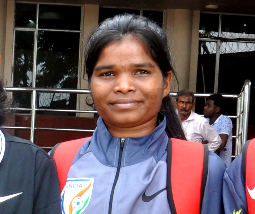 File photo of Odisha international woman footballer Santi Murmu