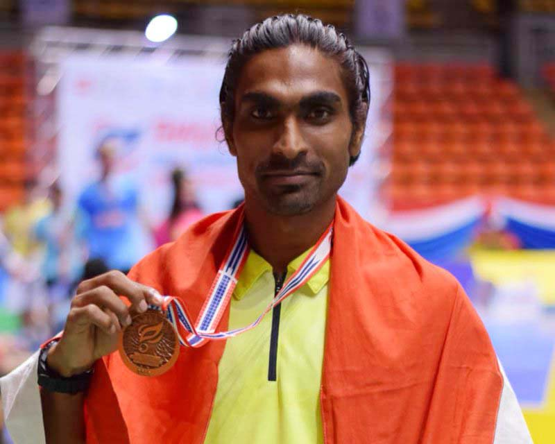 Odisha para badminton player Pramod Bhagatat ar the Thailand Para-Badminton Tournament in Bangkok on July 29, 2018.