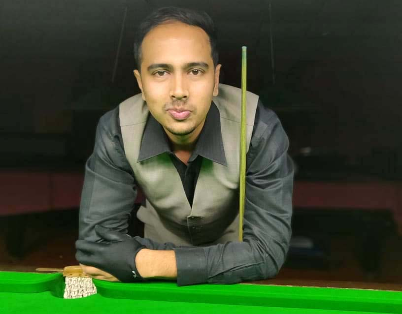 Odisha cueist Aakash Mohapatra during 25th State Senior Snooker Championship in Cuttack on November 14, 2018.