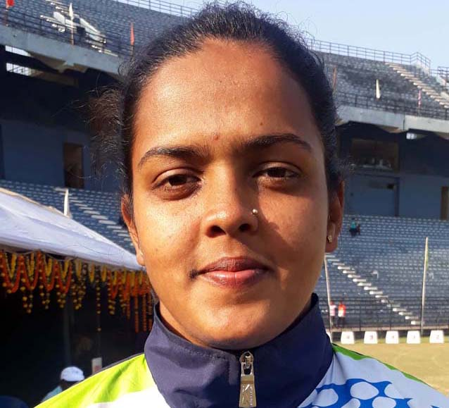 Odisha woman hammer thrower Divya Shandilya after creating New Meet Record at the 66th State Athletic Meet in Cuttack on 30 December, 2018.