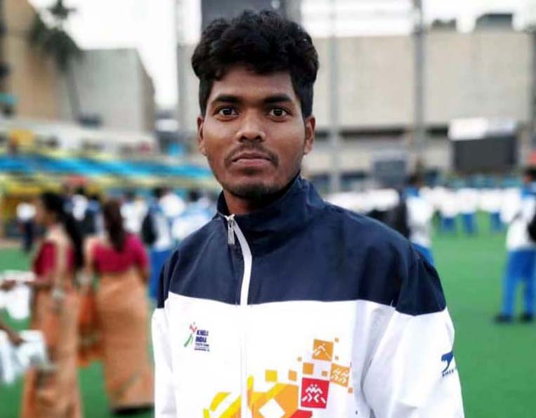 Nilam Sanjeep Xess after leading Odisha U-21 boys team to gold medal win in the 2nd Khelo India Youth Games at Mumbai on Jan 15, 2019.