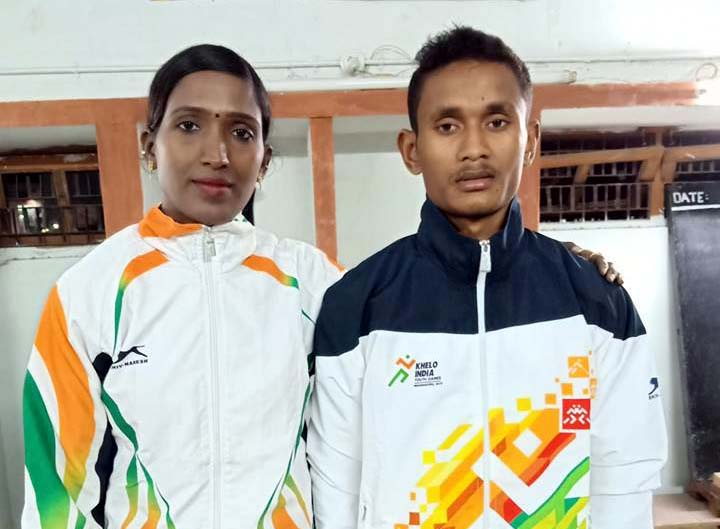 File photo of Odisha woman weightlifter-turned coach Sita Jena with her student Bhaktaram Desti.