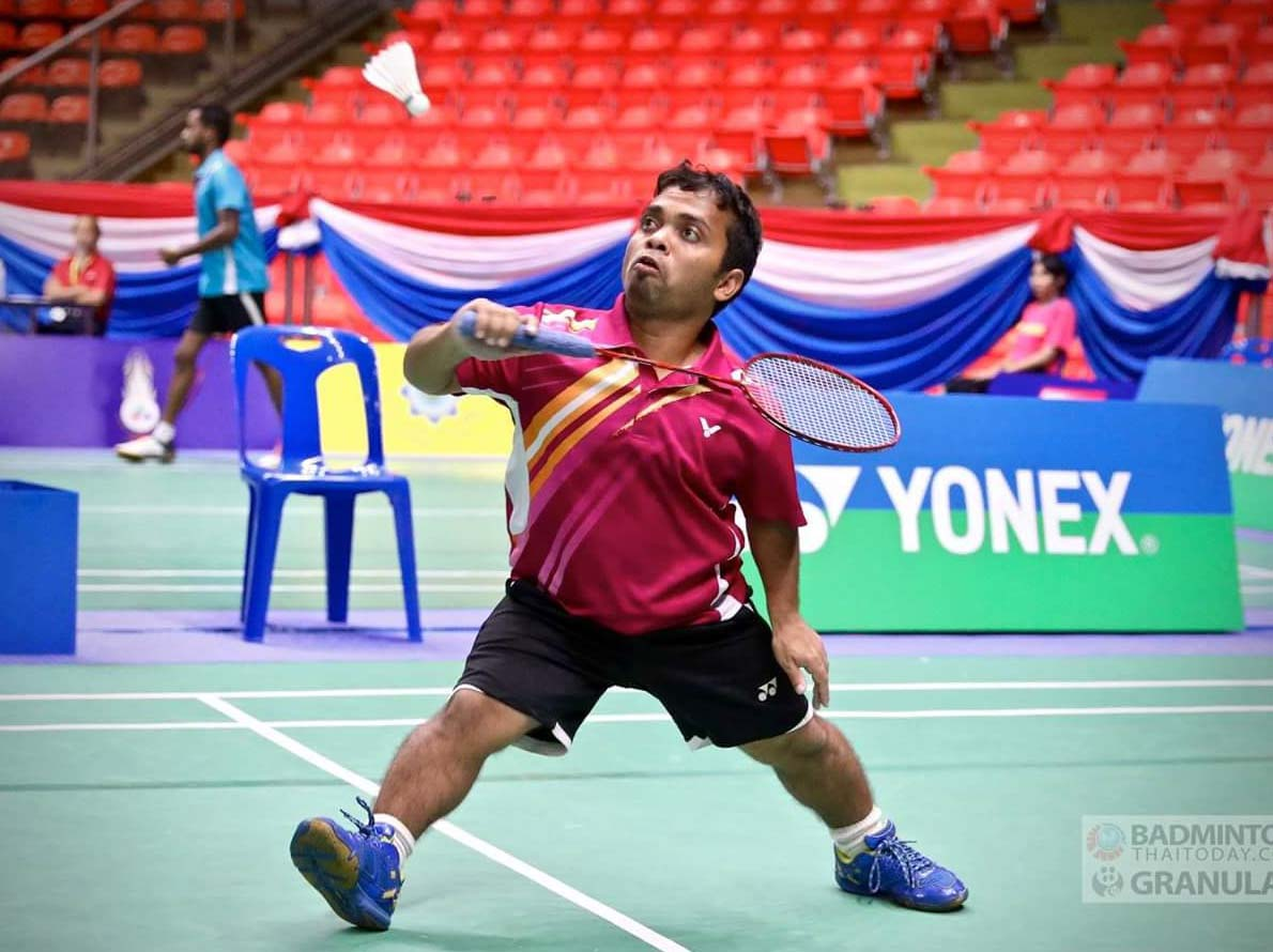 File photo of Odisha para-badminton player Sunil Pradhan in action.