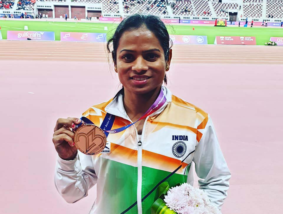 Dutee Chand displays her 200m bronze medal at the 23rd Asian Athletics Championships in Doha on 24 April, 2019.