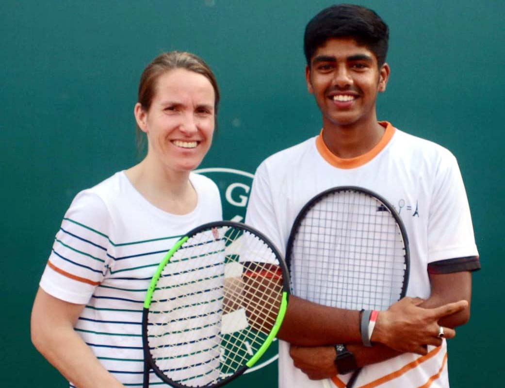 Odisha youth Kabir Hans with 7-time Grand Slam champion Justine Henin after finishing 3rd in French Open Junior Wild Card Tennis Tournament in Delhi on 1 May 2019.