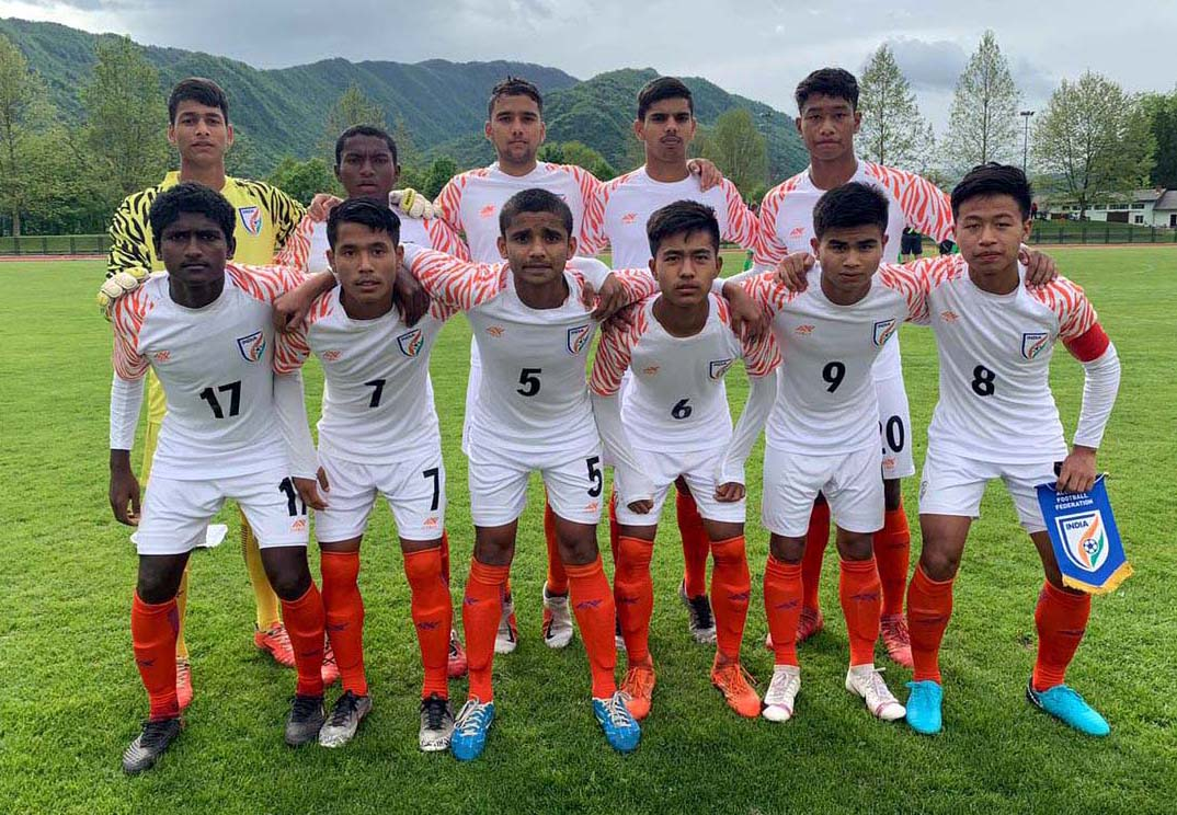 Players of India U-15 boys football team, featuring Ranjan Soren (Back row, 2nd from left) and Aula Siba Prasad (Front row, 1st from left) of Odisha, pose before their match against Slovenia in MU-15 Tournament in Palmanova, Italy on 30 April 2019.