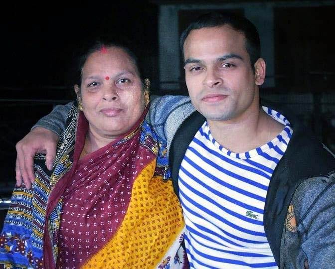File photo of Odisha gymnastics ace Rakesh Kumar Patra with his mother.