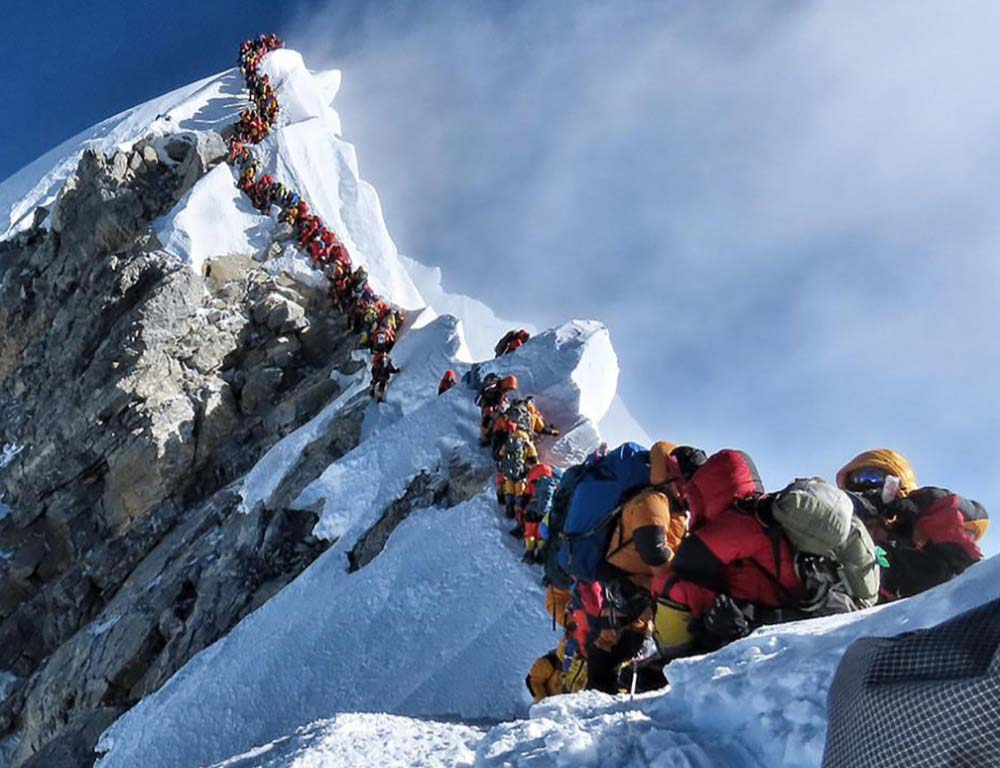 Traffic jam on Mount Everest as climbers make the highest queue to reach the summit on 23 May 2019.