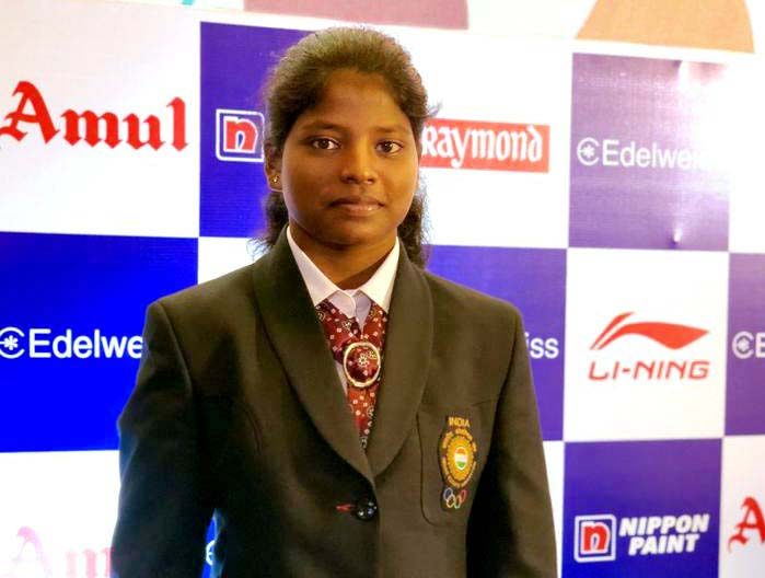 File photo of Odisha woman weightlifter Sneha Soren in National attire.