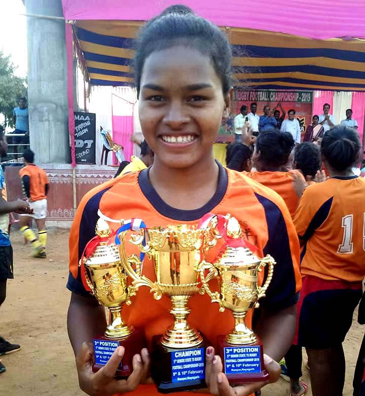 File photo Odisha woman rugby player Meerarani Hembram with trophies