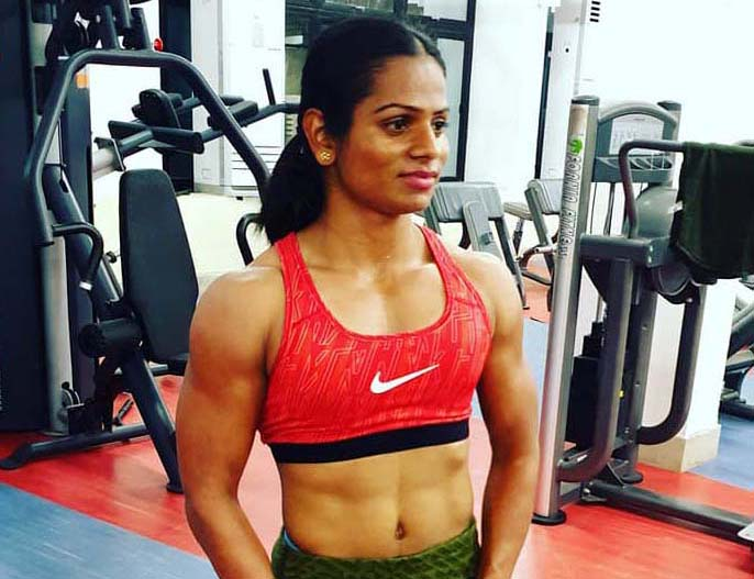 Rare photo of Odisha sprint star Dutee Chand posing in with modern fitness machines.