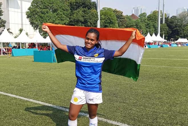 Odisha woman international Meerarani Hembram at the Asia Rugby Seven Trophy in Jakarta on 11 August, 2019.