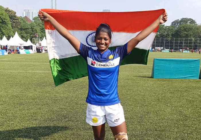 Odisha woman international Sumitra Nayak at the Asia Rugby Seven Trophy in Jakarta on 11 August, 2019.