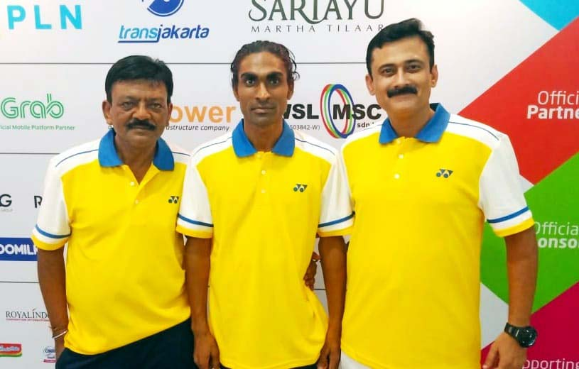 Odisha para-badminton ace Pramod Bhagat with his Odisha coach Shiba Prasad Das (Left) and national coach Gaurav Khanna.