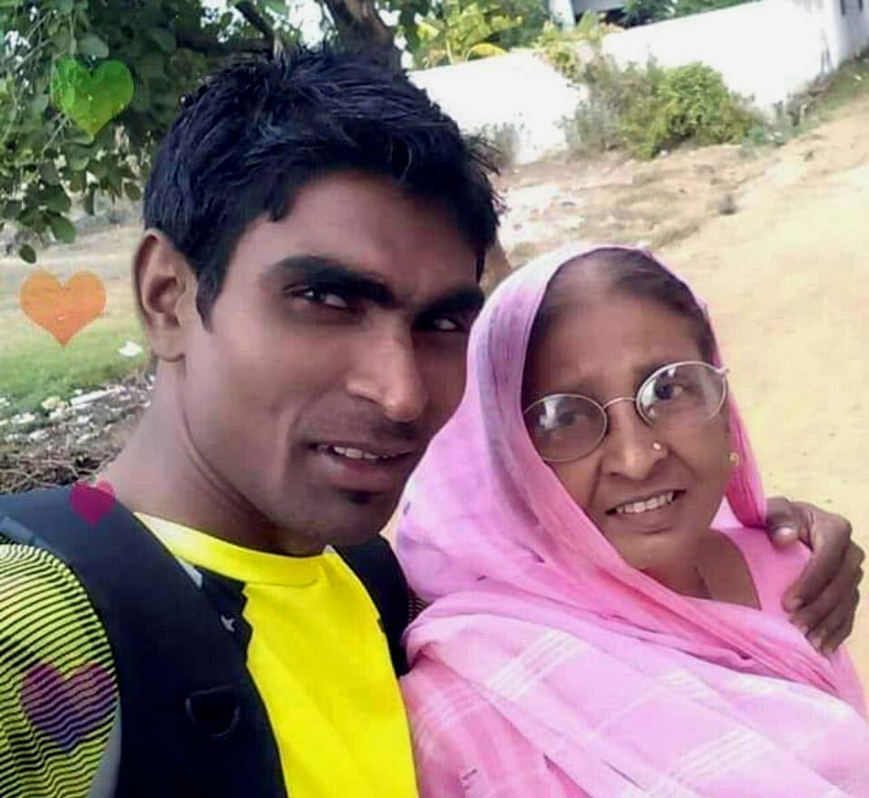 Odisha para-badminton star Pramod Bhagat with his mother Kusum Devi.