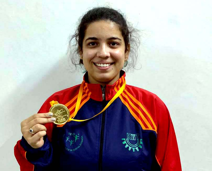 KIIT University MBA student Shriyanka Sadangi poses with her gold medal at the All India Inter-University Shooting Championship in New Delhi on 15 Nov 2019.