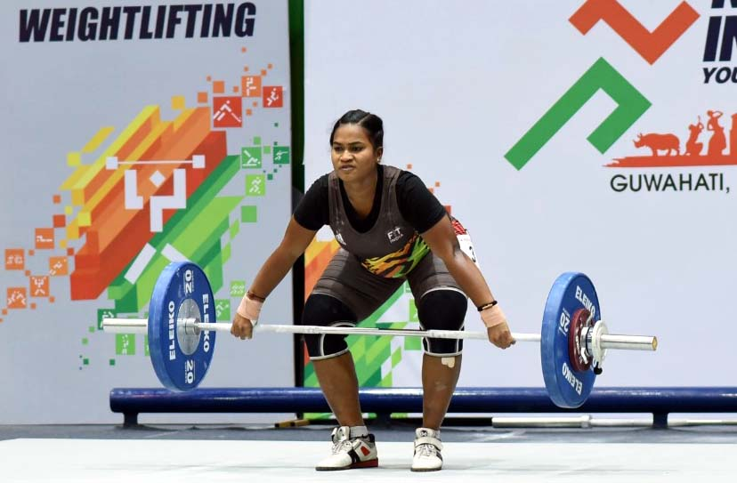 Odisha lifter Banita Ghadei in action at the 3rd Khelo India Youth Games in Guwahati, Assam on 22 January, 2020.