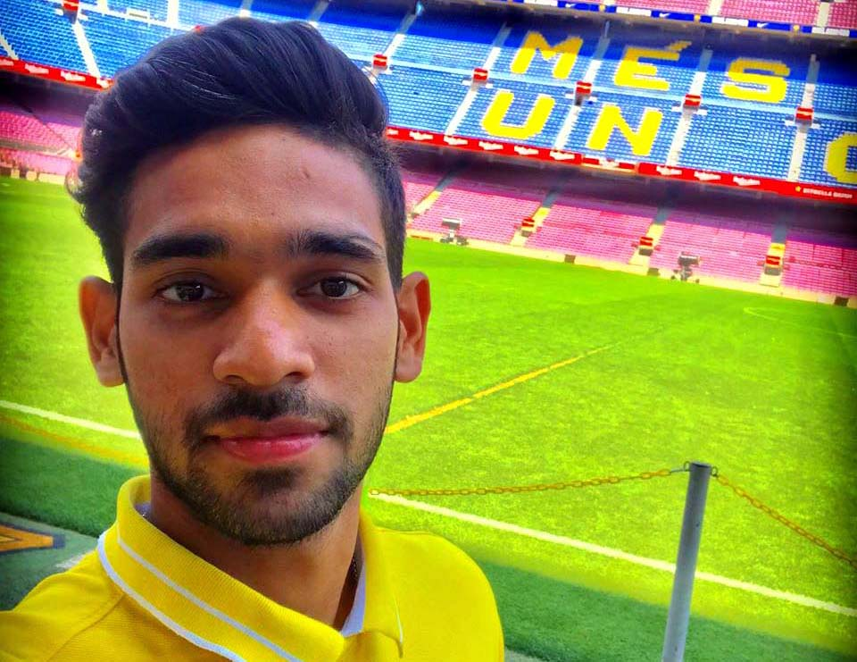 Odisha and India footballer Shubham Sarangi at Camp Nou (FC Barcelona) on 12 July, 2019.