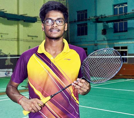 Odisha shuttler Ayush Pattanayak at the Saheed Nagar Indoor Hall in Bhubaneswar on 12 Sept, 2018.
