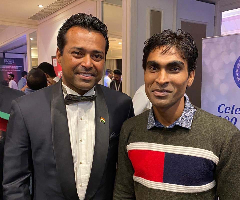 Undated photo of Odisha para-badminton star Pramod Bhagat with tennis legend Leander Paes.