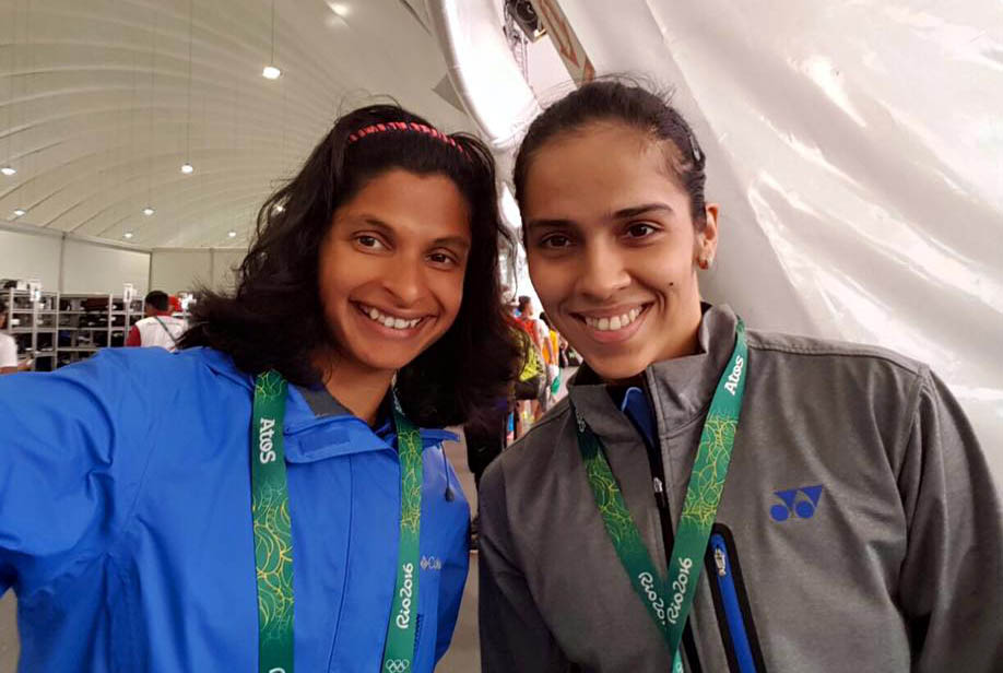Odisha woman sprinter Srabani Nanda with badminton star Saina Nehwal at the 2016 Olympic Games in Rio, Brazil.