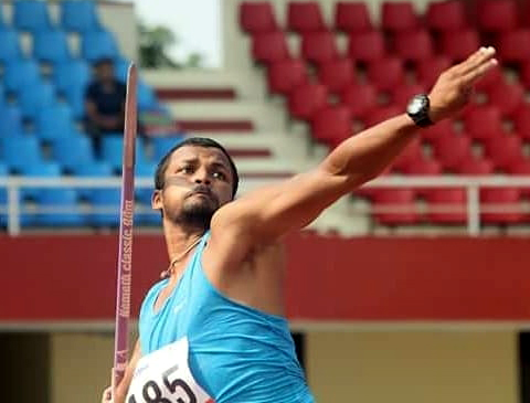 File photo of Odisha javelin thrower Chinmaya Ranjan Jena in action.