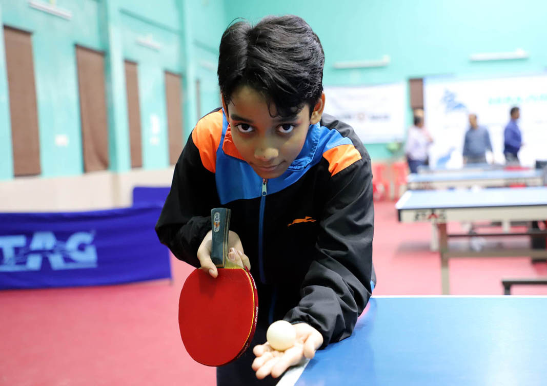 Odisha table tennis player Swetapadma Dalai in action as Sahee Nagar Indoor Hall in Bhubaneswar on 26 Oct 2019.
