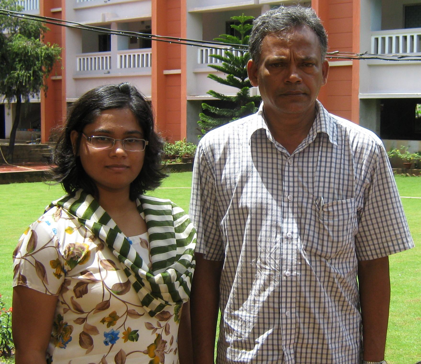 Orissa chess international Kiran Manisha Mohanty with her father Kishore Mohanty in Bhubaneswar on September 10, 2008.