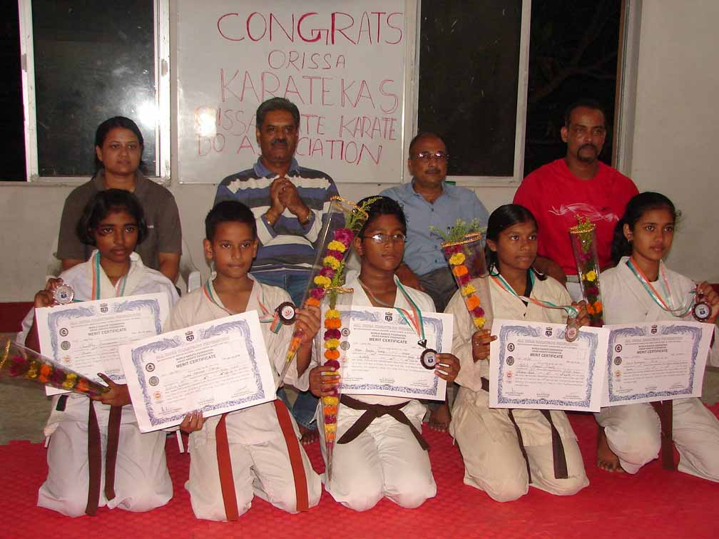 Orissa`s medal winners of the 22nd National Karate Championship and guests at the Utkal Karate School in Bhubaneswar on September 30, 2008.
