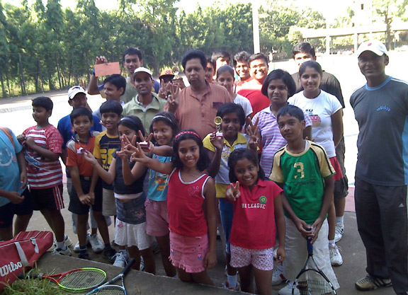 Players at the closing function of the city tennis tournament in Bhubaneswar on Oct 29, 2008.