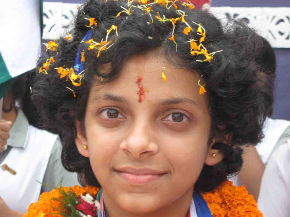 World Youth (under-14 girls) chess champion Padmini Rout at DAV Public School, Chandrasekharpur, Bhubaneswar on November 1, 2008