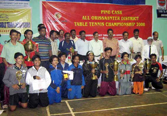 Prize winners and guests of the State table tennis championship in Bhubaneswar on Nov 2, 2008