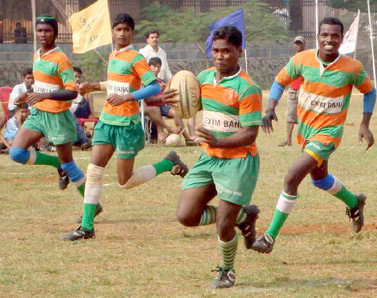 KISS boys launch an attack at the all-India rugby tournament in Bhubaneswar on Nov 22, 2008.