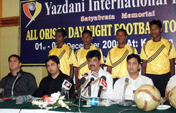 Officials, sponsors and players of Yazdani Club-73 at the jersy unveiling function of the club in Bhubaneswar on Nov 28, 2008.