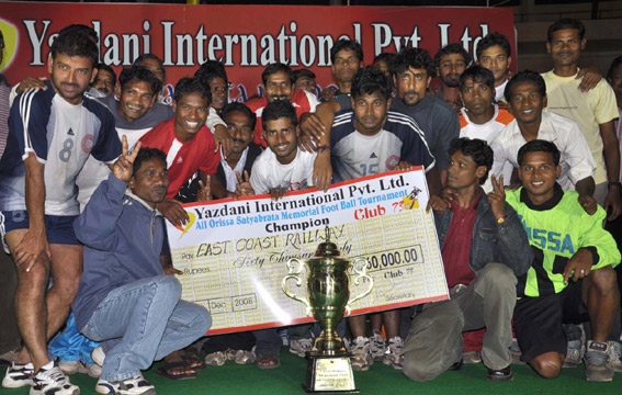 East Coast Railway team celebrates after winning the Satyabrata Memorial Football Trophy in Bhubaneswar on Dec 7, 2008.