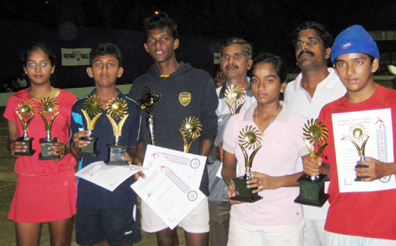Title winners of the 10th All-Orissa Nalco Open Tennis Tournament in Bhubaneswar on Dec 14, 2008.