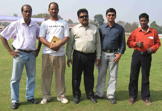 Orissa sports journalists (left to right) <b>Sanatan Pani, Sanjib Biswal, Sushant Mohanty, Gyana Ranjan Mishra </b>and <b>Devi Prasanna Mohanty </b>at the East Coast Railway ground in Bhubaneswar on Dec 17, 2008.