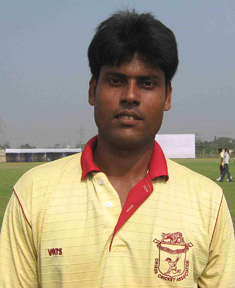 Orissa pace bowler Sukanta Khatua at the East Coast Railway ground in Bhubaneswar on Dec 17, 2008.