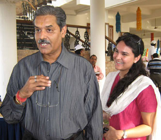Urban Development Minister K V Singhdeo and his daughter at the closing function of the CII Eastern Region Golf Tournament in Bhubaneswar on Dec 20, 2008.