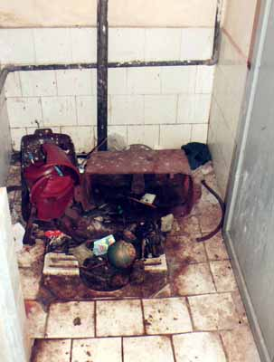 View of a filthy toilet at the State government-owned Kalinga Stadium in Bhubaneswar on December 21, 2008.