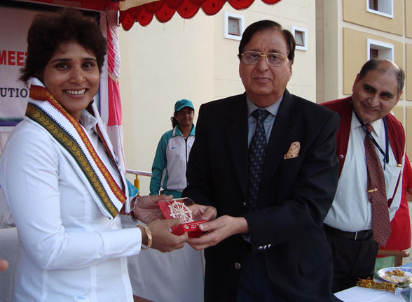 Olympian <b>Rachita Mistry </b>is felicitated at the closing function of the KIIT Annual Athletic Meet in Bhubaneswar on January 17, 2009.