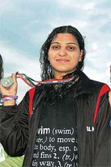Delhi swimmer Richa Mishra, who bagged four gold medals at the National Sports Festival for Women in Bhubaneswar on Jan 19, 2009.
